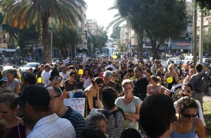 Protesters gather on Ben Zion Boulevard