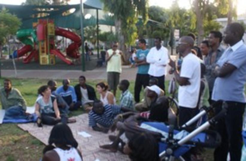 African migrants meet housing protesters_311 (photo credit: Ben Hartman)
