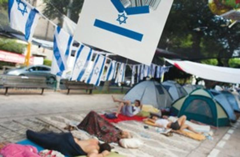 Protesters on Rotschild311 (photo credit: Nir Elias/Reuters)