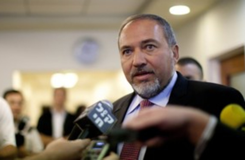 Foreign Minsiter Avigdor Lieberman 311 (R) (photo credit: REUTERS/Uriel Sinai)