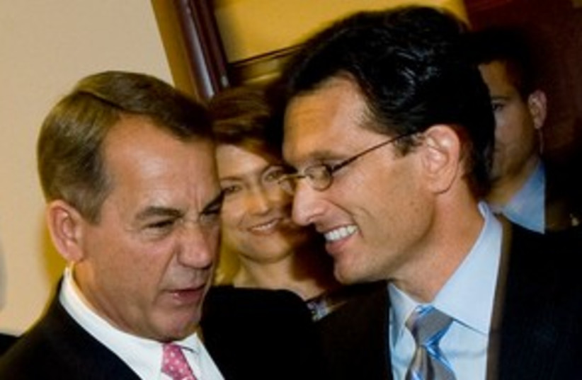 John Boehner shakes hands with with Eric Cantor  (photo credit: REUTERS/Jonathan Ernst)