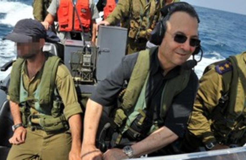 Defense Minister Ehud Barak on Shayetet navy boat 311 (photo credit: Defense Ministry / Ariel Hermoni)