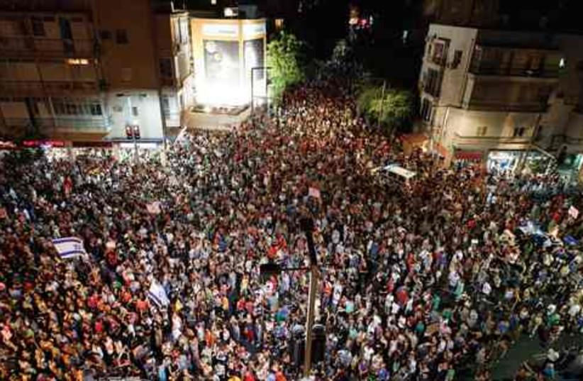 300,000 protestors call for social justice (photo credit: Amir Cohen/Reuters)