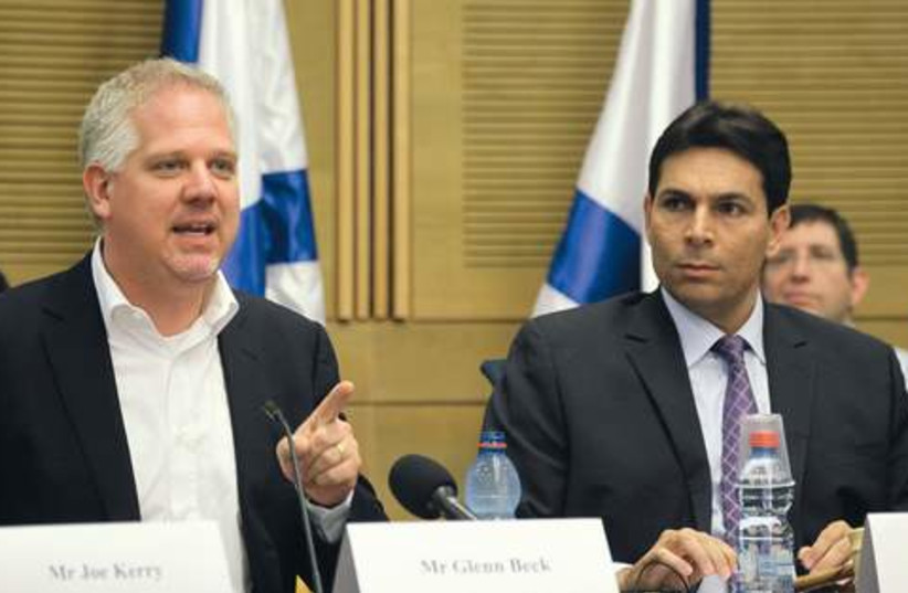 Glenn Beck, alongside MK Danny Danon. (photo credit: Marc Israel Sellem)