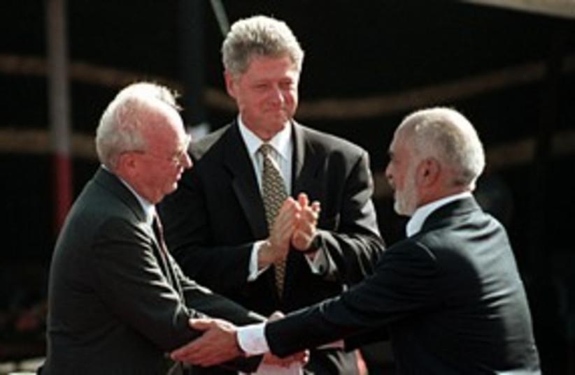 Rabin, Hussein and Clinton at Arava peace deal signing 311 R (photo credit: REUTERS/Jim Hollander)