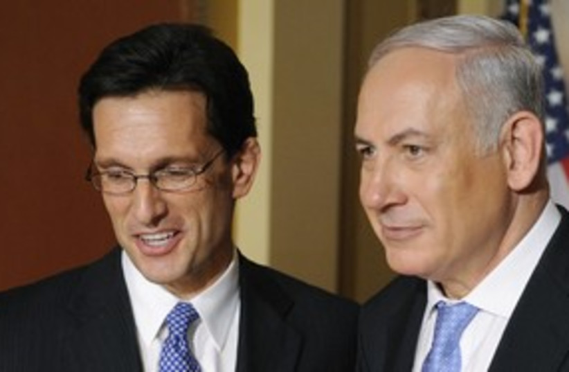 Eric Cantor with PM Netanyahu 311 (R) (photo credit: Jonathan Ernst / Reuters)