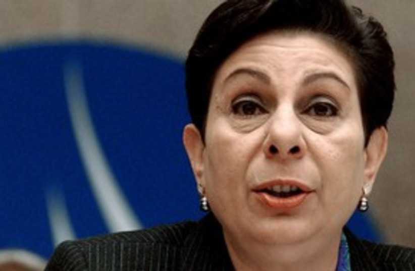 PLO Executive C'tee member Hanan Ashrawi 311 (R) (photo credit: REUTERS)