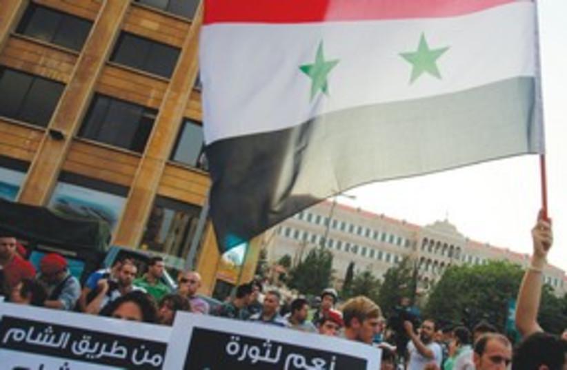Syria protest Lebanon 311 (photo credit: REUTERS)