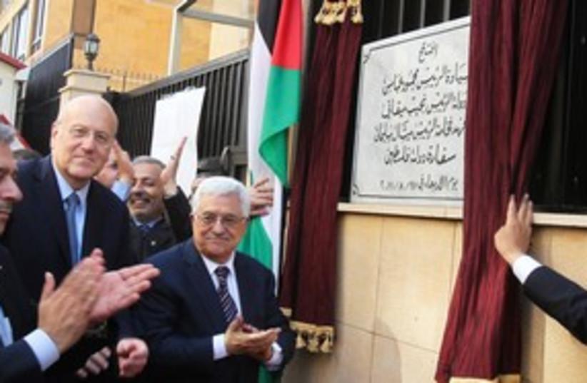 PA President Abbas and Lebanese PM Mikati in Beirut 311 (R) (photo credit: REUTERS/ Sharif Karim)