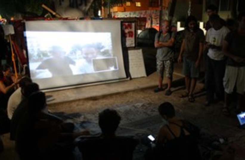Rothschild-Madrid protest video chat session 311 (photo credit: Ben Hartman)