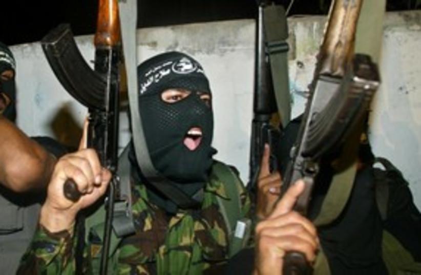 PRC terrorists at Gaza press conference 311 (R) (photo credit: Reuters)
