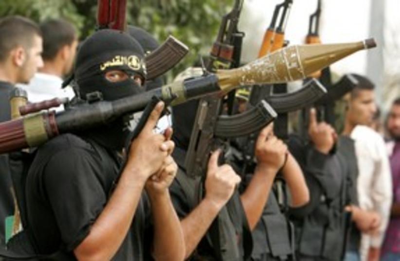 Islamic Jihad terrorists in Gaza 311 (R) (photo credit:  REUTERS/Mohammed Salem)