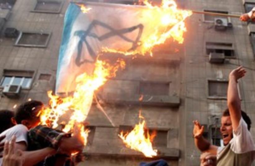 Protesters burn an Israeli flag 311 (photo credit: REUTERS/Mohamed Abd El-Ghany)