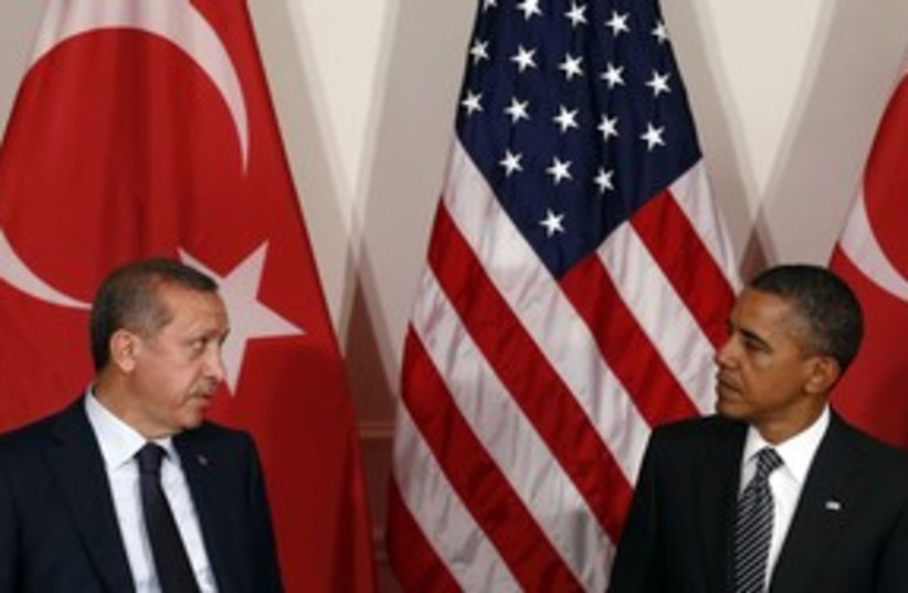 Erdogan Obama 311 (photo credit: REUTERS/Kevin Lamarque)