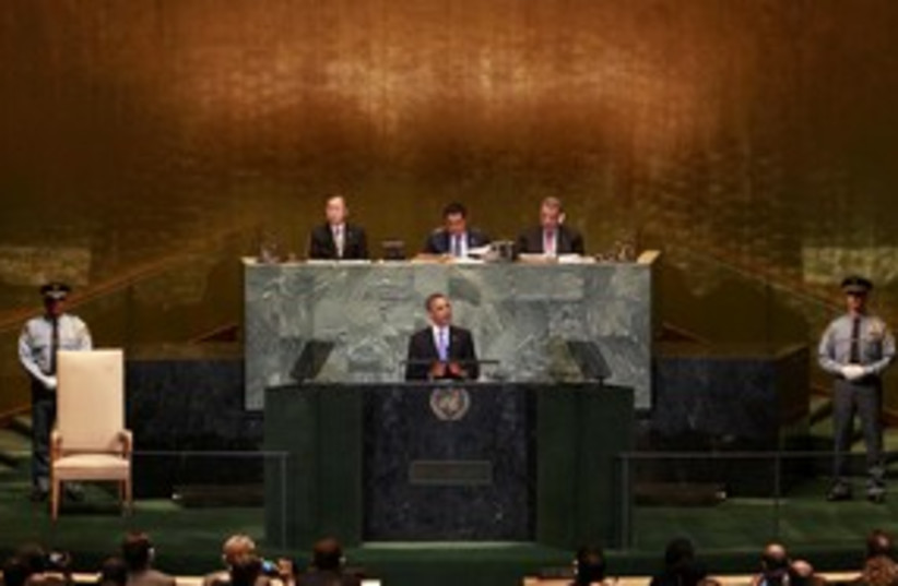 Obama addresses UN General Assembly_311 (photo credit: Reuters)