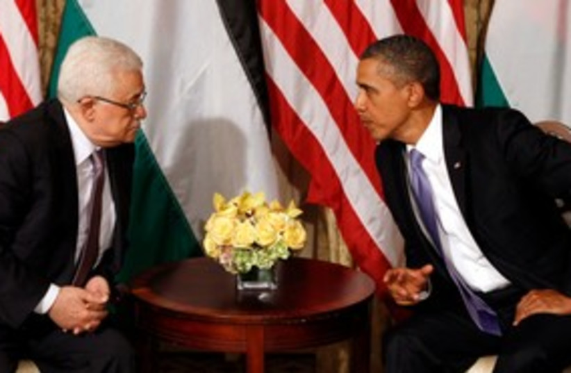 Obama meets with Abbas 311 (photo credit: REUTERS/Kevin Lamarque)