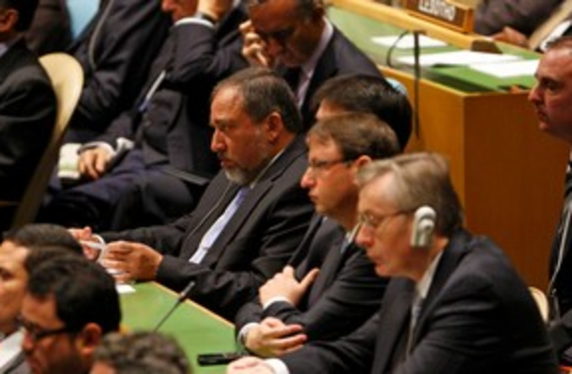 Lieberman at UNGA  R 311  (photo credit: Reuters)