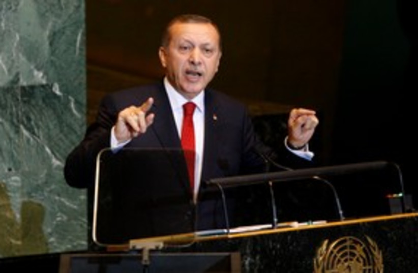 Erdogan at UNGA 311 (photo credit: REUTERS)