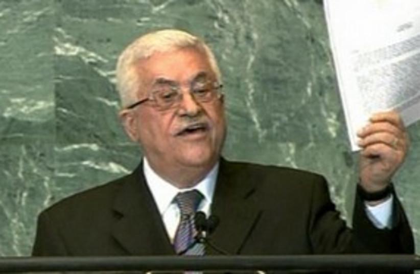 Abbas waving UN application_311 (photo credit: Reuters)