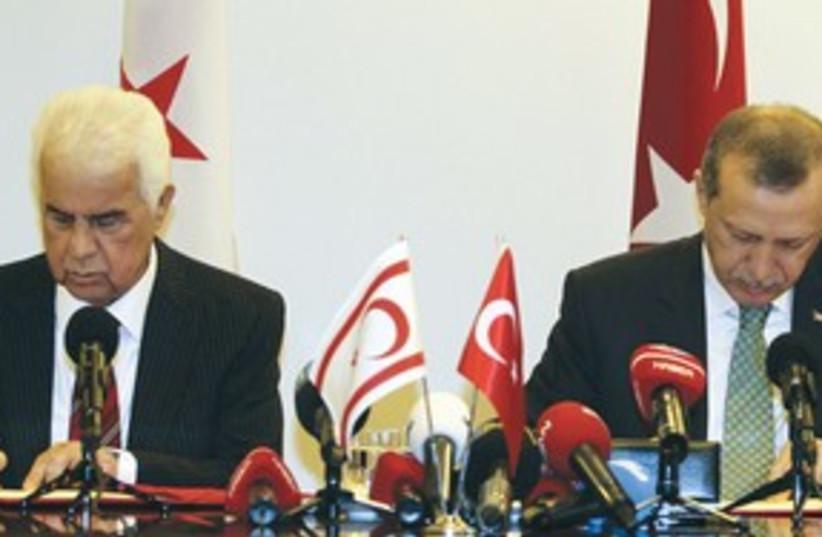 Turkish PM and Turkish Cypriot Leader Dervish Eroglu (photo credit: REUTERS)