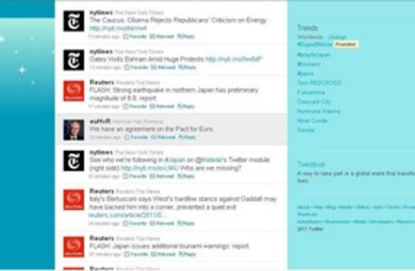 Twitter feed stream 311 (R) (photo credit: Yves Herman / Reuters)