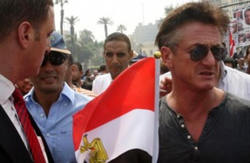 Sean Penn at Tahrir Square 311 (R) (photo credit: Reuters)