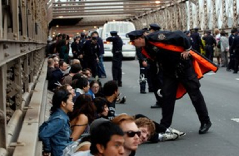 Occupy Wall Street activists on Brooklyn Bridge 311 (photo credit: REUTERS)