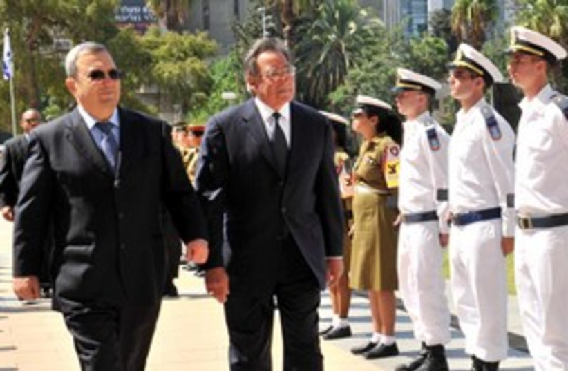 Ehud Barak and US SecDef Leon Panetta 311 (photo credit: Ariel Harmony / Defense Ministry)