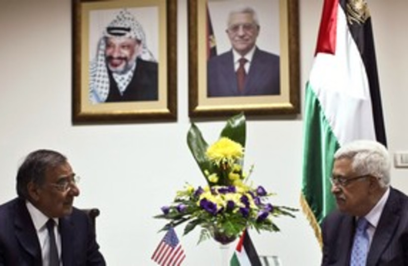 Abbas meets Panetta 311 (photo credit: REUTERS/Fadi Arouri/Pool)
