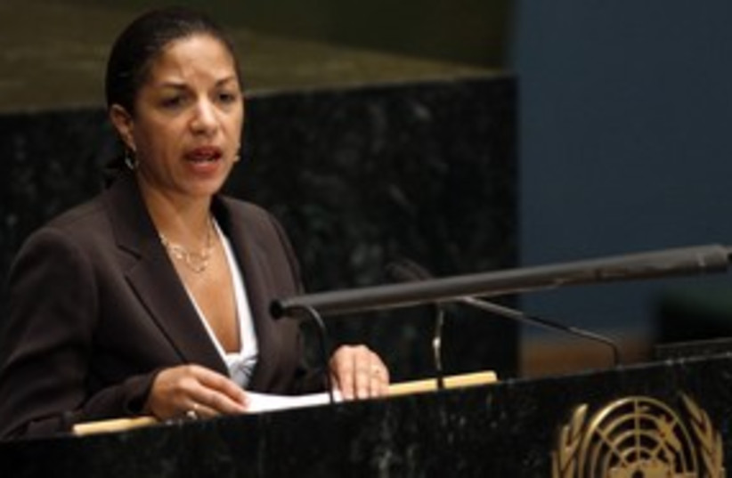 US envoy to the UN Susan Rice 311 (R) (photo credit: Brendan McDermid / Reuters)
