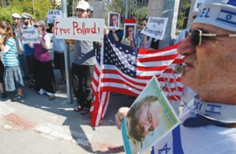 Pollard protest 311 (photo credit: Reuters)