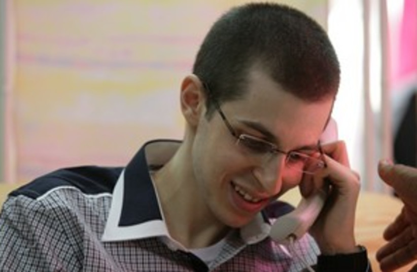 Gilad Schalit on phone to parents 311 (photo credit: IDF Spokesman's Office)