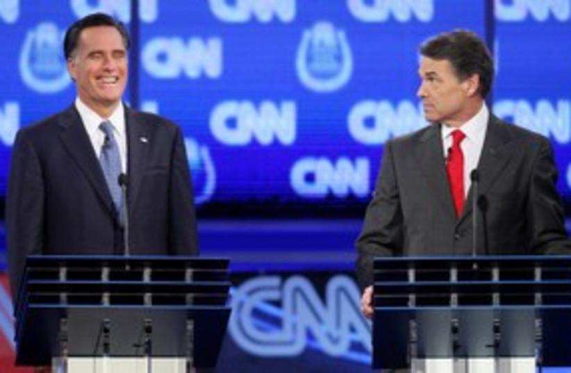 Republican debate Romney Perry 311 (photo credit: Reuters)