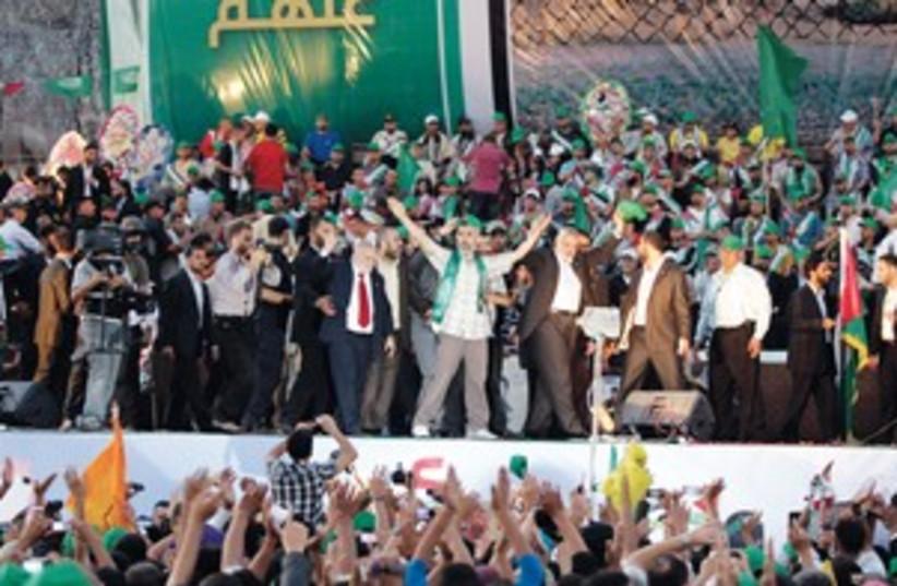 Haniye at rally 311 R (photo credit: Reuters)