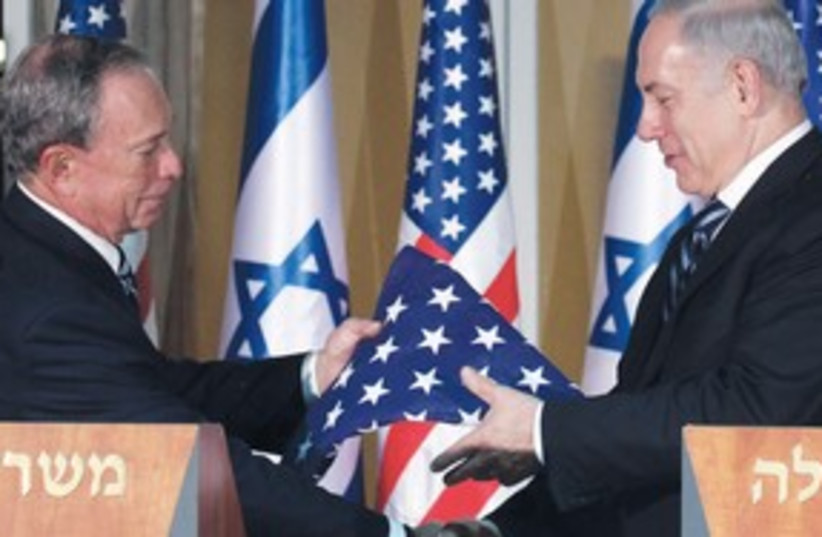 NY mayor Michael Bloomberg with Netanyahu 311 (photo credit: Marc Israel Sellem)