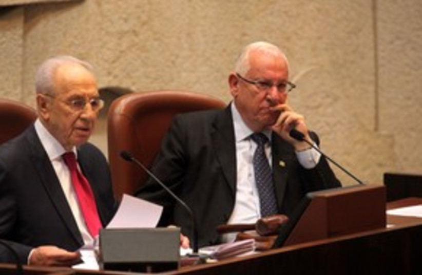 Rivlin and Peres in Knesset 311 (photo credit: Marc Israel Sellem/The Jerusalem Post)