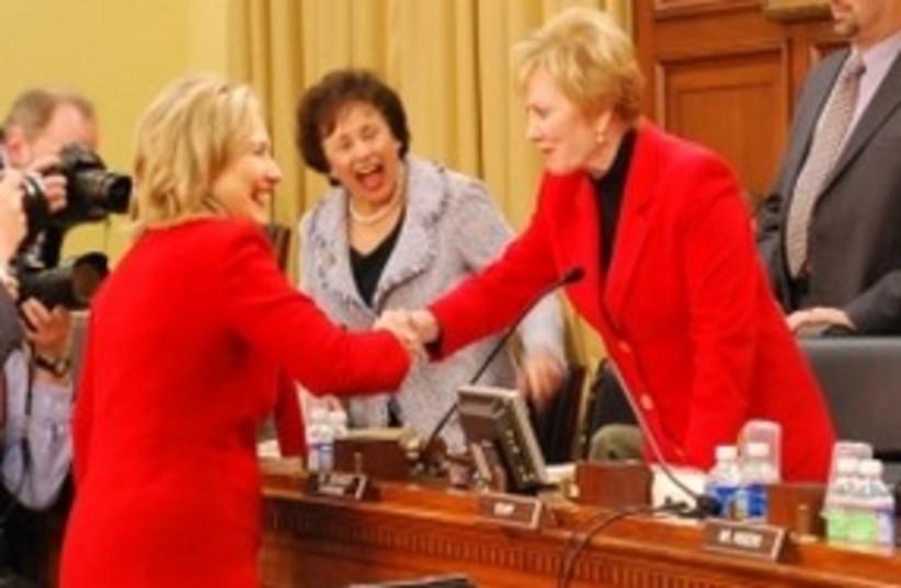 Kay Granger and Nita Lowey with Hillary Clinton (photo credit: JTA)