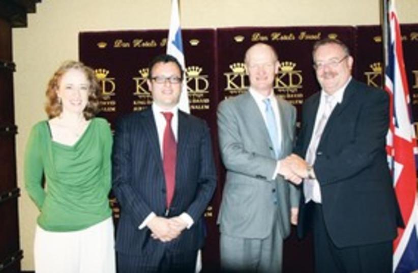 David Willetts, Adee Matan, Matthew Gould, Daniel Hershkowit (photo credit: British Embassy in Israel)