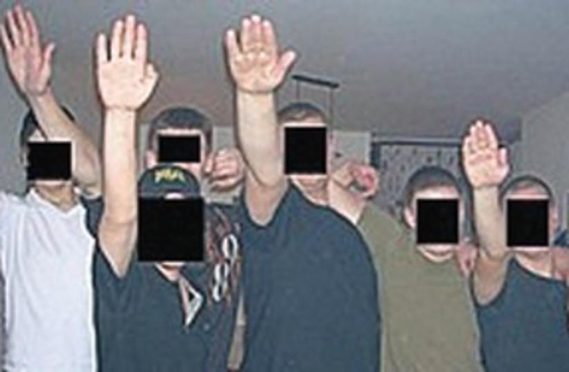 NEO-NAZI gang 'Patrol 36' salutes [file] (photo credit: Israel Police)