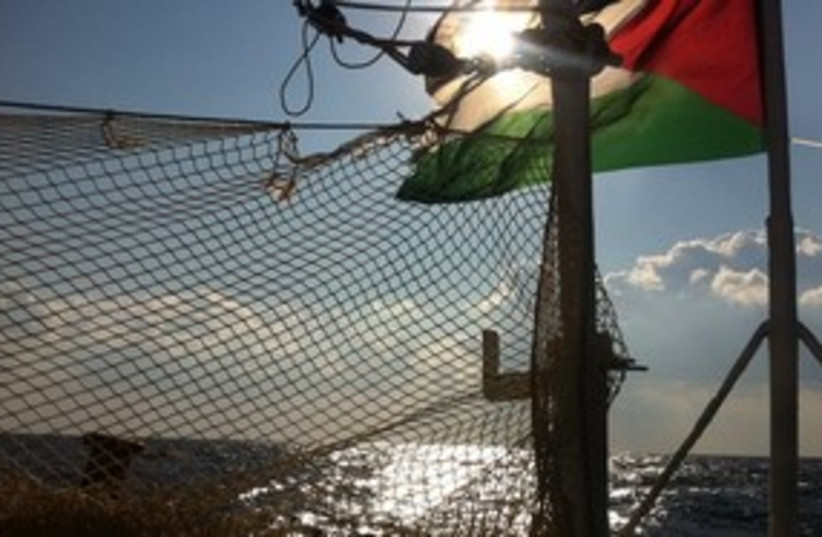 Palestinian flag on flotilla (photo credit: Freedom Waves/Facebook)