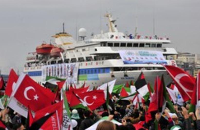 Mavi Marmara welcome back 260 (photo credit: REUTERS/Stringer)