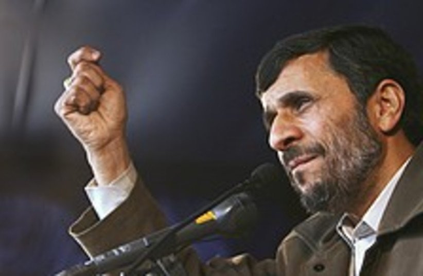 ahmadinejad makes point  (photo credit: AP)