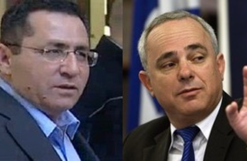 Histadrut Chairman Eini and Finance Minister Steinitz 311 (photo credit: Reuters and Channel 10)