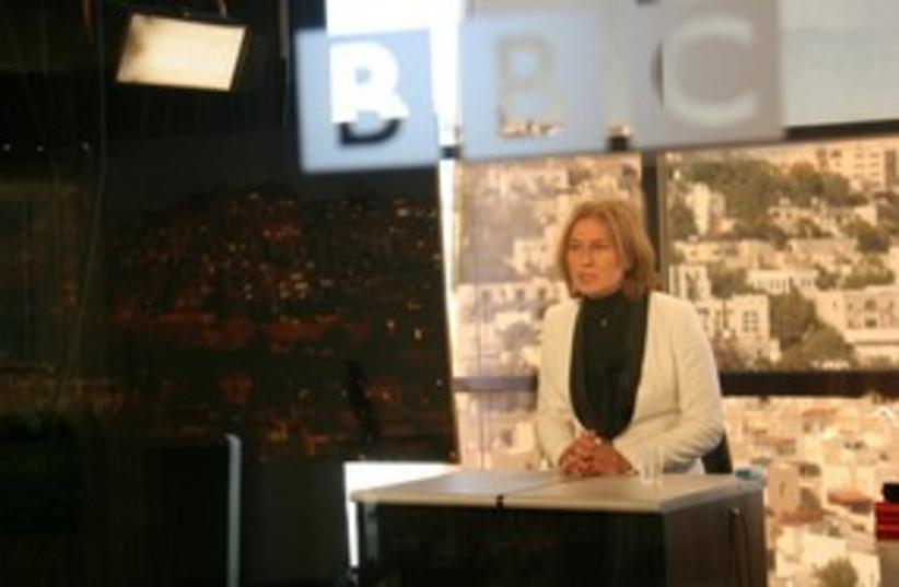 MK Tzipi Livni on the BBC (photo credit: Courtesy of Kadima Party)