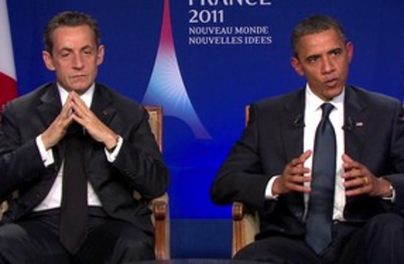 Obama and Sarkozy, R, 311 (photo credit: Reuters)