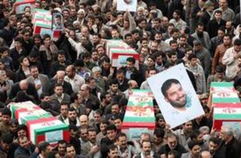 Coffin of Iranian Revolutionary Guards commander 311 (R) (photo credit: REUTERS/Jamejam Online/Ebrahim Norouzi)