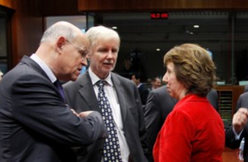 Catherine Ashton talks with EU foreign ministers 311 (R) (photo credit: REUTERS/Thierry Roge)