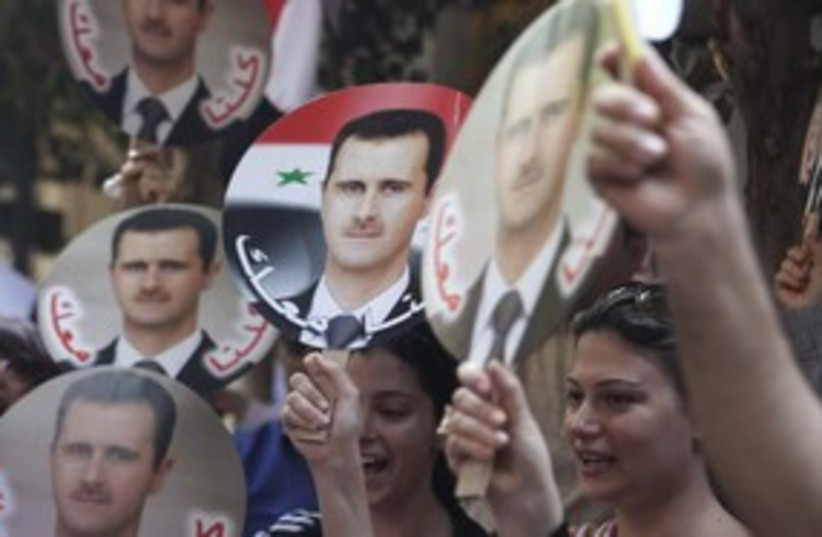 pro-Assad demonstration, Syria_311 (photo credit: Reuters )