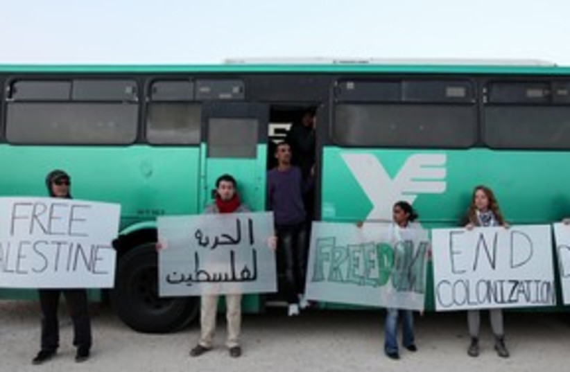 Palestinians activists try to get bus to J'lem 311 (photo credit: Marc Israel Sellem)