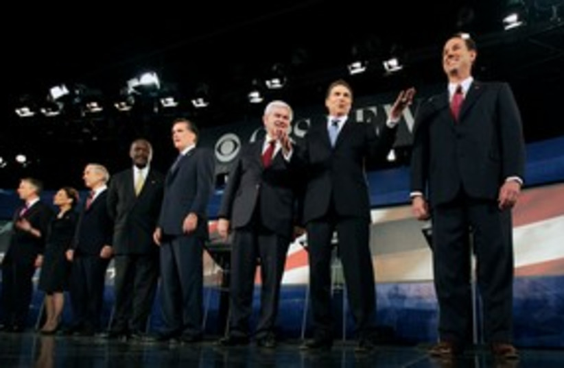 Republican candidates at debate 311 (R) (photo credit: REUTERS/John Adkisson)